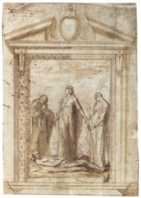 the lamentation, within a design for an elaborate frame by giovanni dei vecchi