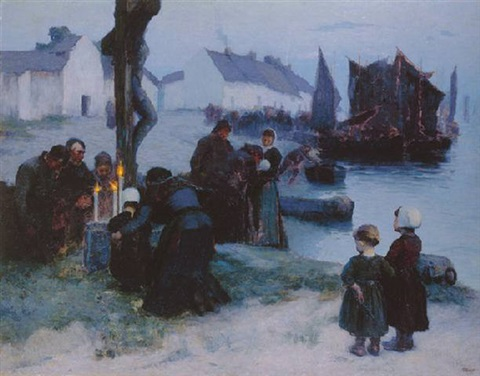 the departure of the fishermen in the early morning 1891 by louis paul dessar