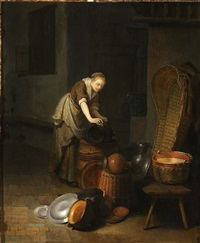 interior with young woman scouring a pot by paul van den bosch