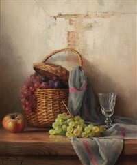 still life - grapes and wine by robert chailloux