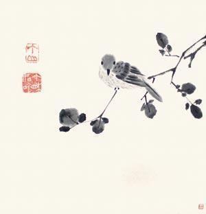 秋叶小鸟 by bada shanren