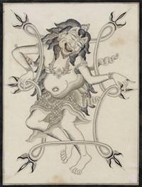 reradjahan lontar, magical protective drawing by anak agung gede sobrat