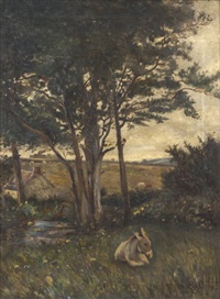 donkey resting by a river by joseph poole addey