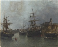 a view of the tréport seine inférieure by jules vernier