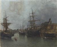 a view of the tréport seine inférieure by jules vernier