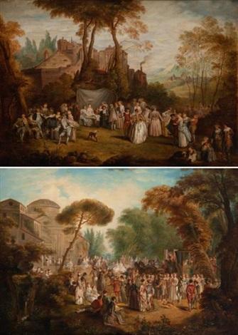 laccordée de village et le cortège de la mariée pair by jean antoine watteau