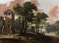 paysage avec des cavaliers au pied d'une tour by jacques d' arthois