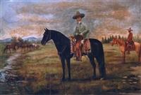 jinete en caballo azabache by ernesto icaza
