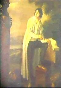 portrait en pied d'un juriste dans             un paysage; portrait de sa femme et de ses enfants (2) by laurent dabos