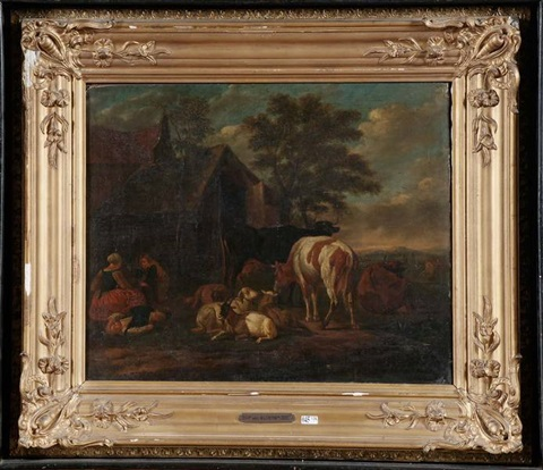 cour de ferme animée avec bétail by jan frans van bloemen