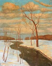 rivière sur la neige by mikhail markianovich germanshev