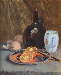still life with oranges and wine bottle by emma (helfrid charlotta) toll