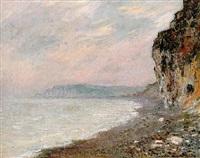 falaises à pourville, effet de brouillard by claude monet