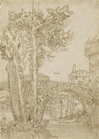 un pont à l'entrée d'une ville, des arbres au premier plan by wolf huber