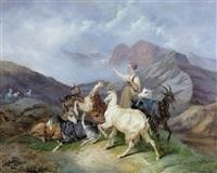 gebirgspartie mit ziegenhirtin by joseph simon volmar