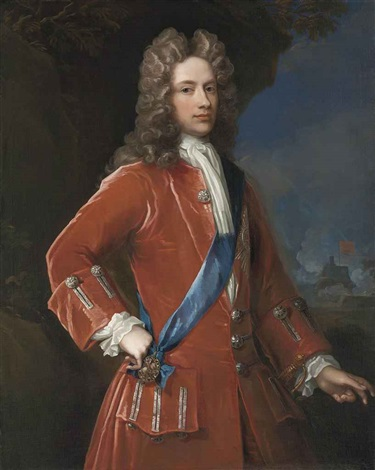 portrait of john campbell 2nd duke of argyll and 1st duke of greenwich in a red coat with silver braid with the sash and star of the order of the garter a coastal fortress beyond by william aikman