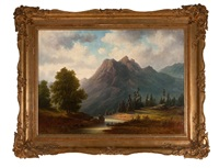 swiss landscape with mountain by lars theodor billing