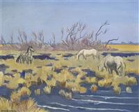 chevaux en camargue by yves brayer