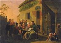 gezelschap bij de herberg by constantinus-fidelio coene