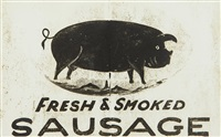 fresh and smoked butcher's sign by walker evans