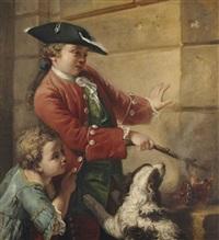 l'action, un jeune garçon mettant le feu à un canon miniature by jean françois gilles colson