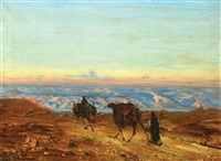 dead sea landscape with camels by ludwig blum