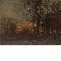 sunset in the woods by john joseph enneking