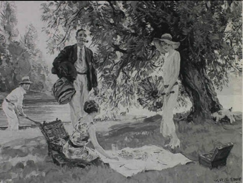 summer north and south a picnic on the riverbank by william r stott