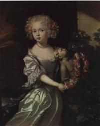 portrait d'une jeune fille tenant une guirlande de fleurs by aleijda wolfsen