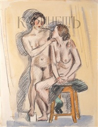 two models with a chair by nikolai andreevich tyrsa