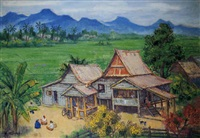a view of the kampung by liu kang