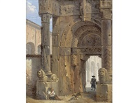 the temple of karnak, luxor (+ and an architectural capriccio with a porch; pair) by giovanni migliara