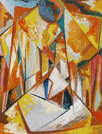 abstrakte komposition in orange by erhard hippold