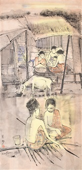 two boys seated outside a hut by cheong soo pieng