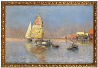 fischerboote im hafen by georg fischhof