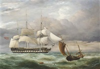 an east indiaman hove-to in the channel with a boulogne lugger passing by by george philip reinagle
