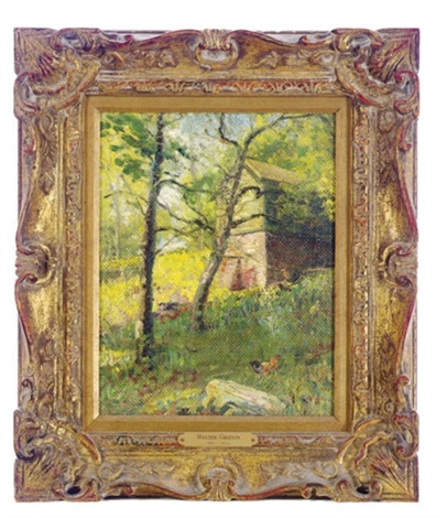 verdant landscape with a barn by walter griffin