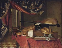 a spinet, a mandolino, lutes, a theorbo, a violin, a guitar, a harp, an ebony casket and musical manuscripts on a draped table in an interior by evaristo baschenis