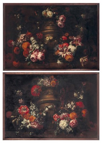 bouquets de fleurs sur un entablement pair by gaspar pieter verbruggen the younger