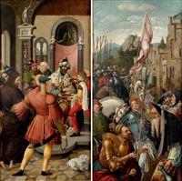 le christ devant pilate (+ la rencontre d'abraham et melchisedech; 2 works) by master of the antwerp adoration