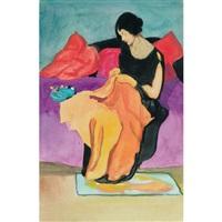 woman sewing by randolph stanley hewton