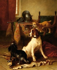 three dogs in an interior by conradyn cunaeus