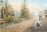 street scene and park, christchurch by christopher aubrey