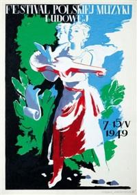 projekt plakatu: festiwal polskiej muzyki ludowej by tadeusz gronowski