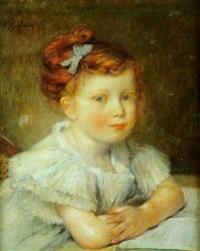 jeune fille au noeud bleu dans les cheveux by abel faivre