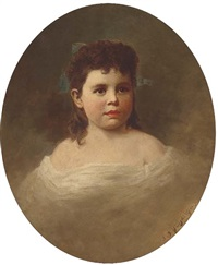 portrait of a young girl, bust-length, in a white dress by samuel bell waugh