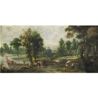 paesaggio con figure e un'imbarcazione sulla sinistra by jan wildens