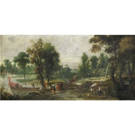 paesaggio con figure e unimbarcazione sulla sinistra by jan wildens