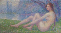 nu féminin allongé au bord d'un étang by hippolyte petitjean