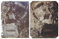 négatif et positif: femme à l'ombrelle dans un jardin (2 works) by jean baptiste frénet